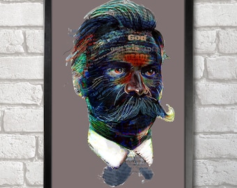 Friedrich Nietzsche Quotes Portret Poster Print A3+ 13 x 19 in - 33 x 48 cm Buy 2 Get 1 Free