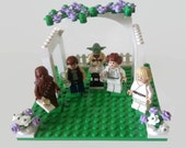 Lego Star Wars Wedding Cake Topper Han Solo Princess Leia Bride and Groom Minifigures with Chewbacca and Luke Skywalker *Customised*