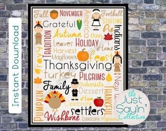 Thanksgiving Day Typography Subway Art Print-- Thanksgiving Themes Printable Holiday Home Decor Wall Art