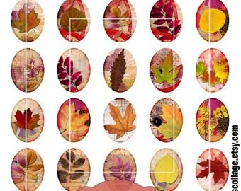 Fall Leaves Ovals Clip Art, Digital Collage Sheet, 30mm x 40mm ovals, Digital Downloads, autumn ovals, colorful leaf clip art, cabochon