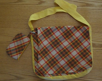 Plaid Crossbody Messenger Bag