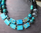 CHOKER Short MULTISTRAND Necklace Turquoise Sea Sediment Jasper, Lapis Lazuli, Black Glass Cubes and Crystals Tibetan Silver Clasp