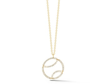 "AF Jewelers ""Tennis Anyone?"" Pendant Necklace with Diamonds and with Chain, 18k Yellow Gold."