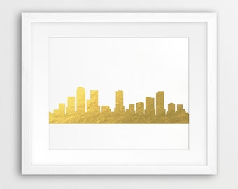 Denver Skyline Print, Denver Colorado Cityscape, Denver City Gold Foil Texture, Modern Wall Art, Home Office Decor, Digital Printable Art