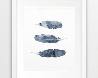 Feather Watercolor Printable, Feather Silhouette Blue Grey, Feather Print, Modern Wall Art, Nursery, Home Decor, Digital Print, Downloadable