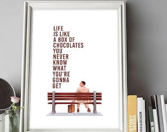 Forrest Gump Poster, Tom Hanks, Film Poster, Forrest Gump, Illustrations, Typography, Home/Office Poster, Gift Idea, Wall Art Decor