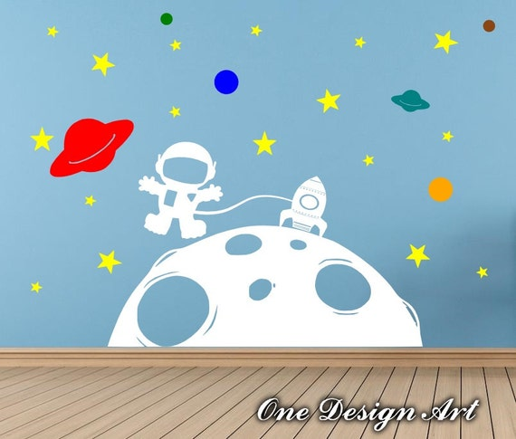 Astronaut in outer space wall decal kids nursery newborn room for Outer space vinyl wall decals