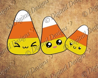 Set of Kawaii Candy Corn Images Clipart Svg, Png, Dxf, Eps Halloween Clipart Paper Piecing Template