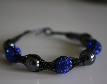 Black and Blue Wire Macrame
