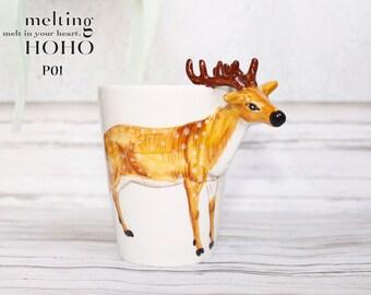 Vintage Deer Hand Painted Mug