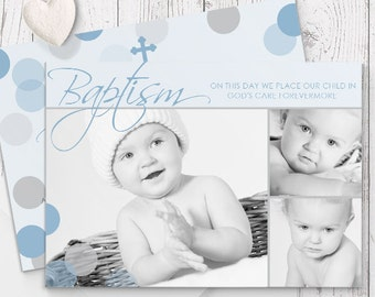 Blue Christening Photo Baptism Invitation for Boy | Modern | Printed On Luxe Cardstock | Spots | Double Sided | Your Photo & Words
