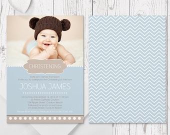Blue Baptism Photo Invitation, Christening Invites, Double Sided, Professionally Printed, Peach Perfect Australia