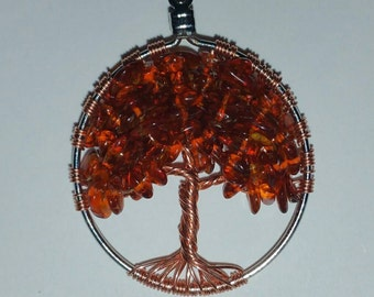 Amber Crystal Tree of Life Pendant