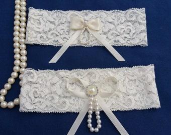 Ivory stretch lace garter set,  Ivory satin, Pearl Rhinestone Button, Wedding garter, Bridal garter, Prom garter, Garter set, Custom garter