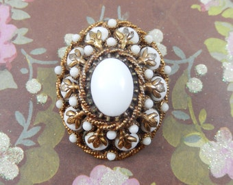 Gorgeous Vintage HAR Signed Gold Tone  Dome Milk Glass Brooch Pin