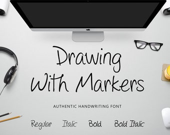 Drawing With Markers Handwriting Font - 4 Styles Commercial Download