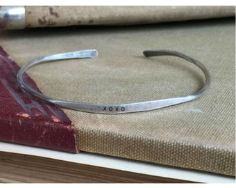 XOXO - Hand Stamped Cuff Thin Stacking Bracelet Personalized Custom Order Adjustable Handmade - Brushed Distressed