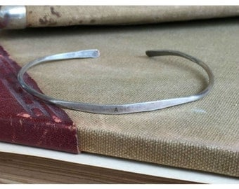 SINGLE INITIAL - Hand Stamped Cuff Thin Stacking Bracelet Personalized Custom Order Adjustable Handmade - Brushed Distressed