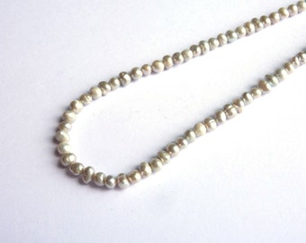 Cultured pearls silver pearls 4x5mm P080 on wire