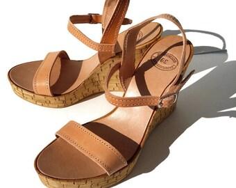 Natural brown leather high platforms, Women Greek leather platforms