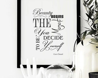 Coco Chanel Print / Printable / Coco Chanel Quote / Black And White Home Decor / Beauty Begins Quote