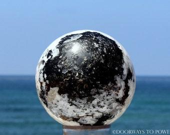"3.6"" Rainbow Moonstone w/ Black Tourmaline Sphere"