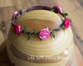 Pink Flower Braided Leather Headband with Green Leaves, Flower Crown, Braided Leather Crown, Pink Flower Fairy Crown, Rose Headband