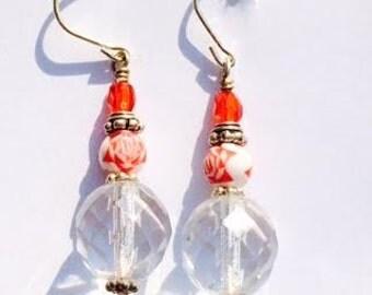 Oriental inspired Red Earrings