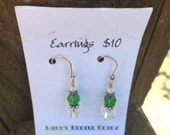 Clear squared Emerald Earrings