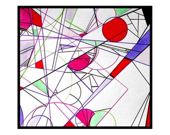 Original minimalist art pen and ink drawing abstract artwork line illustration outsider art - Build by Caerys Walsh