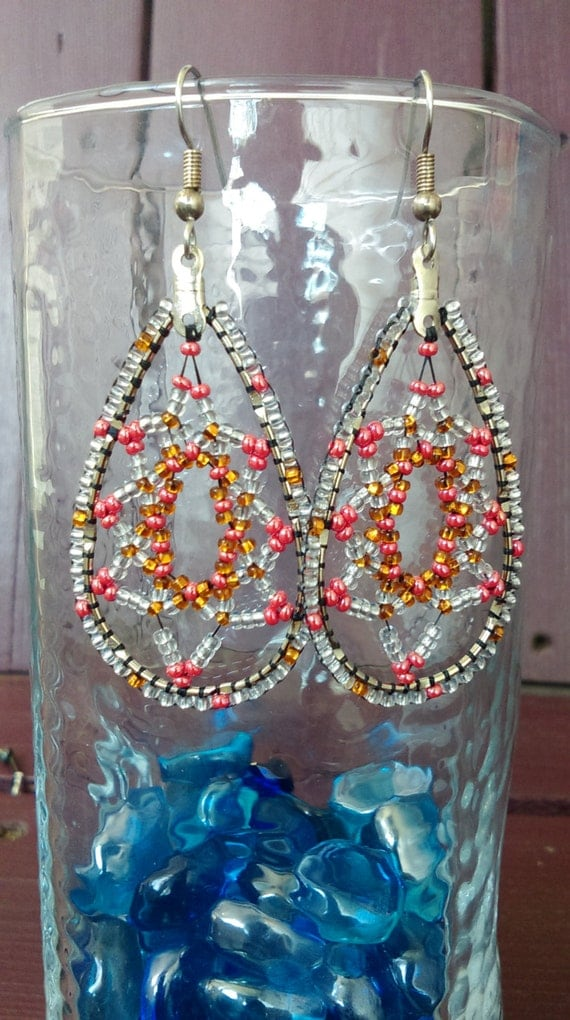Beaded Teardrop Dangel Earrings