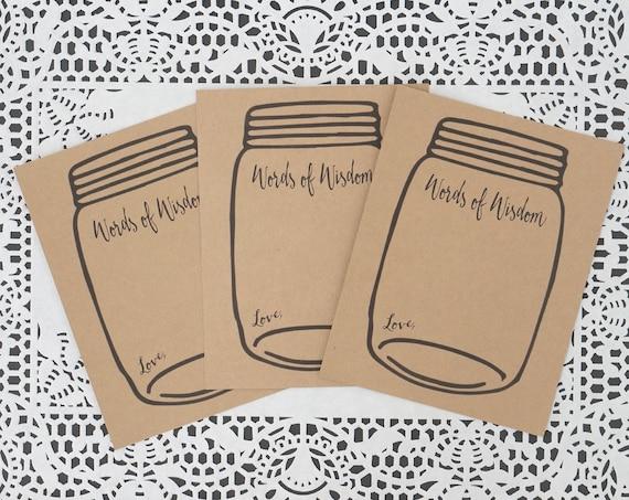mason jar wedding advice card kraft brown baby or bridal shower