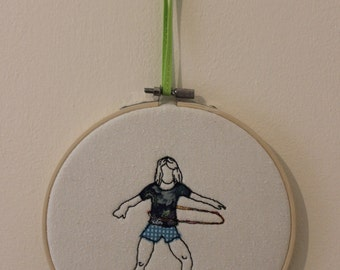Hoola Hooping Girl in Embroidery Hoop