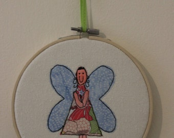 Fairy with Sequin Wand in an Embroidery Hoop