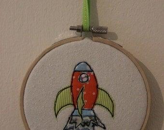 Rocket in Embroidery Hoop