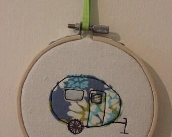 Caravan in Embroidery Hoop