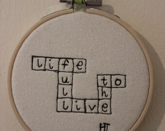 Live Life to the Full Scrabble Art Hoop