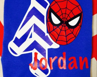 boys' personalized spiderman birthday shirt vinyl custom