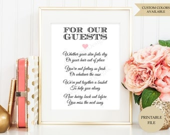Wedding Bathroom basket sign (PRINTABLE FILE) - Wedding Bathroom sign - Wedding printables