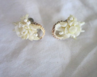 Antique Shell and Pearl Screw Back Earrings