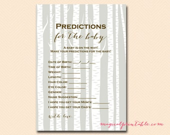 Predictions for the baby, baby prediction, Birch, Woodland Baby Shower Games Printable, Gender Neutral Color, Baby Shower Activities TLC99