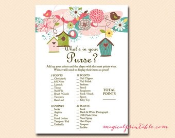 What's in your purse, purse game, purse hunt, purse raid, Bird Baby Shower Games Printable, whimsical Baby Shower Games Download TLC17