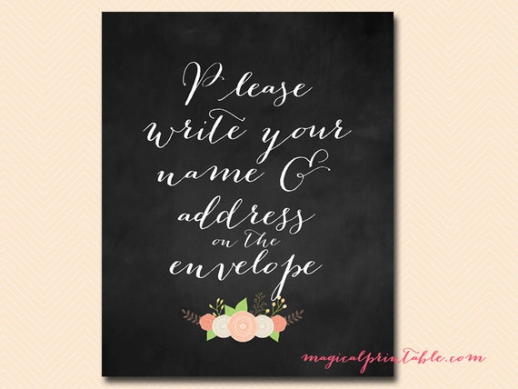Please Write Your Name And Address On Envelope Sign Wedding