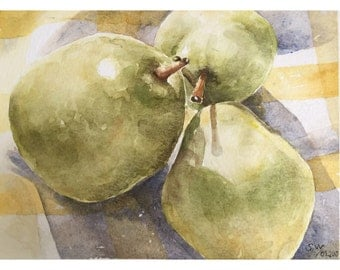Original kitchen art - watercolor painting pears - pear art - watercolor art