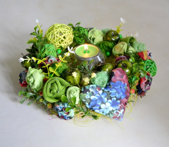 Green flower centerpiecespring wreath candle by sophiedecor