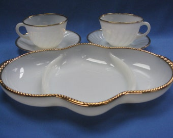 Fire King, Milk Glass serving dish and 4 cups and saucers