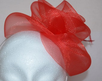Red feather fascinator. Handmade.