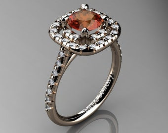 French 14K Rose Gold 1.0 Ct Orange Sapphire Diamond Engagement Ring R1028-14KRGDOS