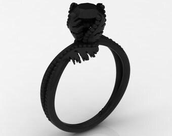 Dancing Swan 14K Black Gold 1.0 Ct Black Diamond Fairy Engagement Ring R1029-14KBGBD