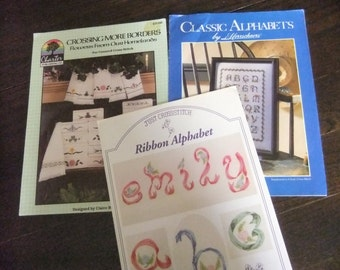 Group of 3 Cross Stitch Instruction Booklets for Flowers or Alphabets